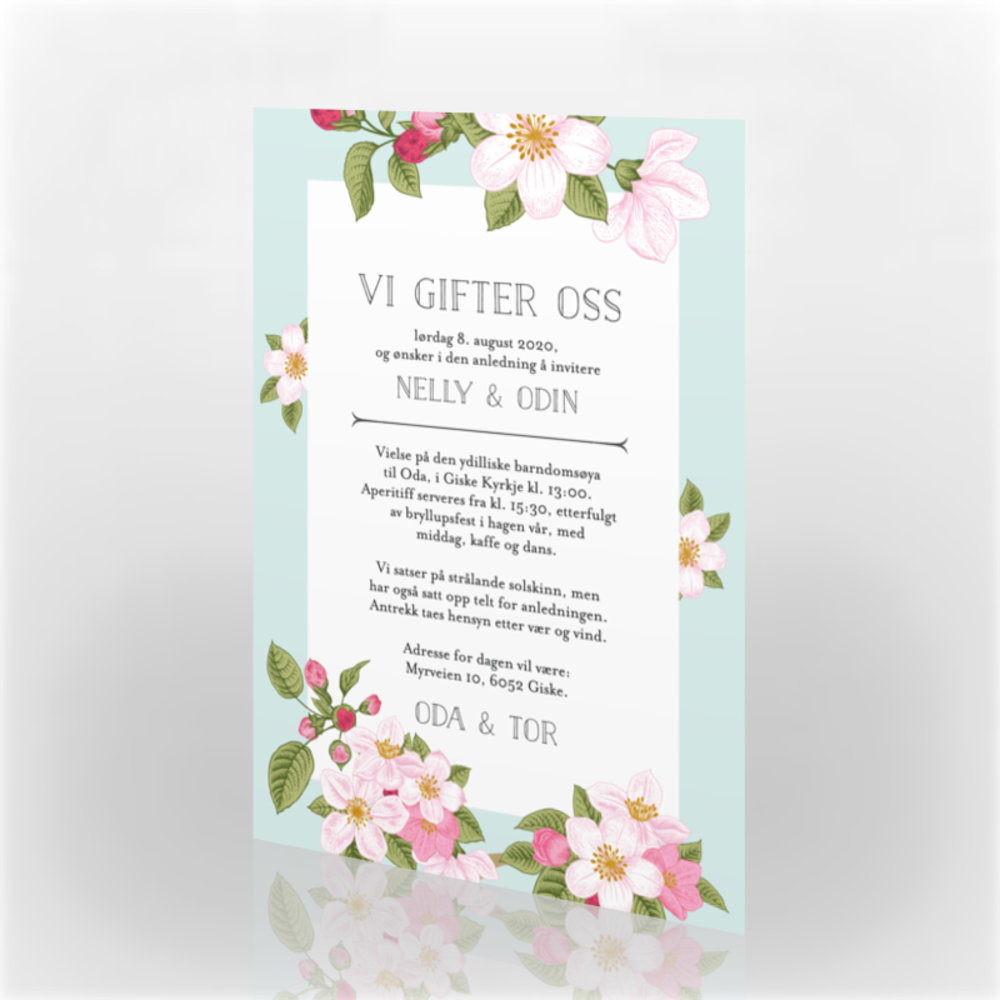 ea45fcb7 Invitasjon bryllup, 110951 - 2 sider, 105 x 148 mm - kortshop.no