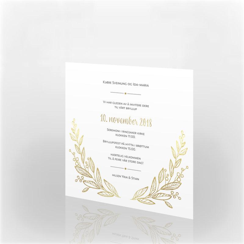 dbe0742f Invitasjon bryllup, 112211 - 2 sider, 145 x 145 mm - kortshop.no
