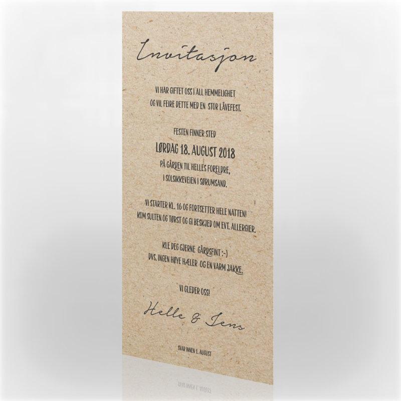 0345b555 Invitasjon bryllup, 112361 - 2 sider, 99 x 210 mm - kortshop.no